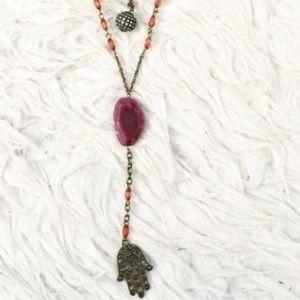Free People Antiqued Brass Hamsa Lariat Necklace ✨